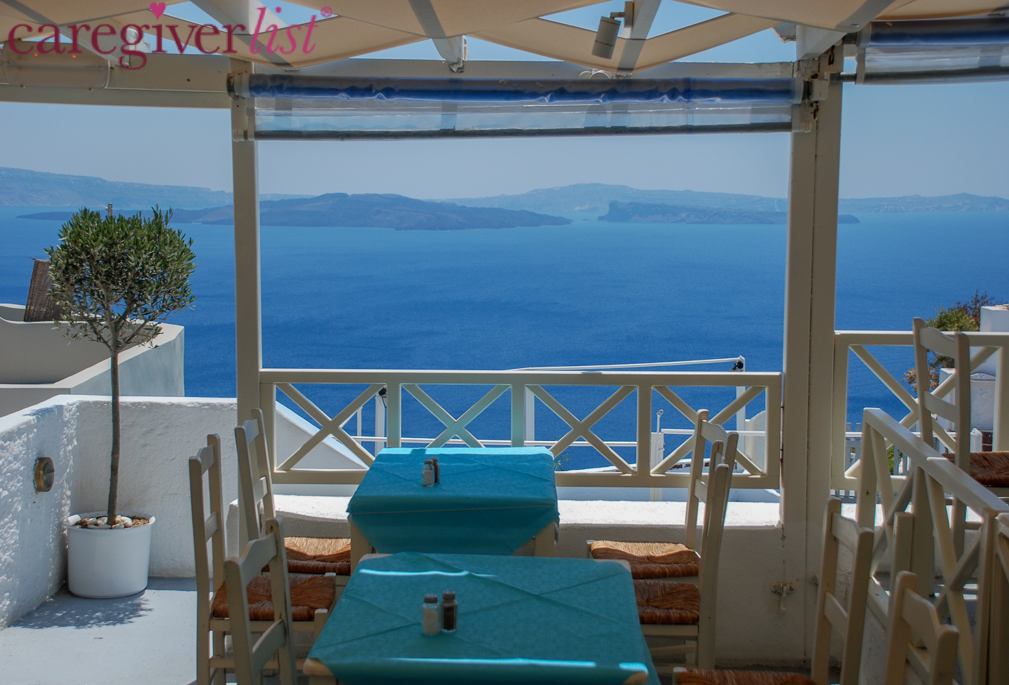 Greek Island View for Caregiver Stress Relief